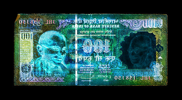 David LaChapelle, Negative Currency: One Hundred Rupee Used As Negative, 1990-2017