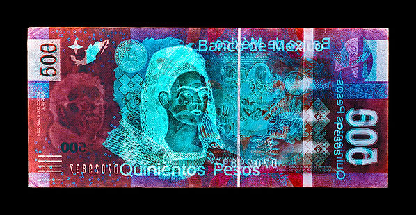 David LaChapelle, Negative Currency: Five Hundred Peso Used As Negative, 1990-2017