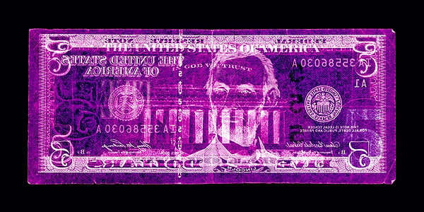 David LaChapelle, Negative Currency: Five Dollar Bill Used As Negative, 1990-2017