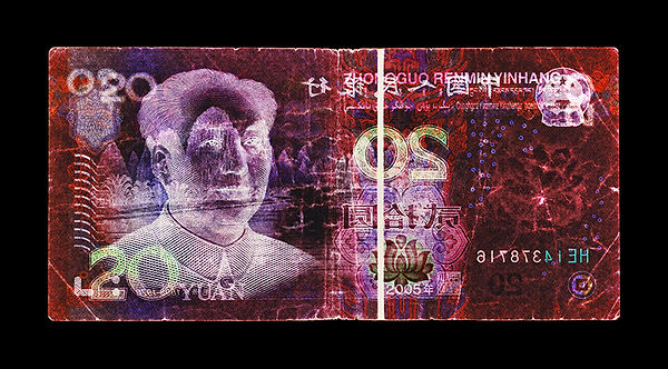 David LaChapelle, Negative Currency: 20 Yuan Used As Negative, 1990-2017
