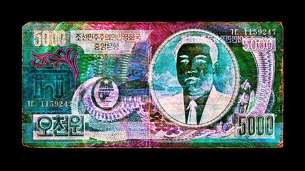 David LaChapelle, Negative Currency: Five Thousand North Korean Won Used As Negative, 1990-2017