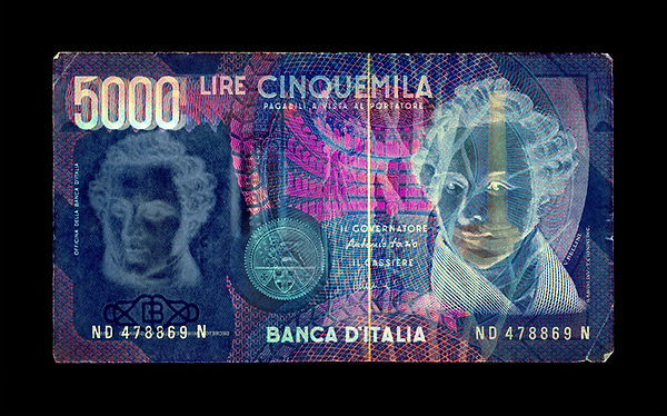 David LaChapelle, Negative Currency: 5000 Lira Used As Negaive, 1990-2017