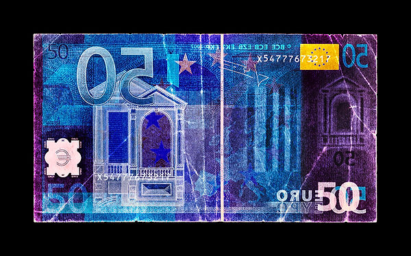 David LaChapelle, Negative Currency: Fifty Euro Used As Negative, 1990-2017