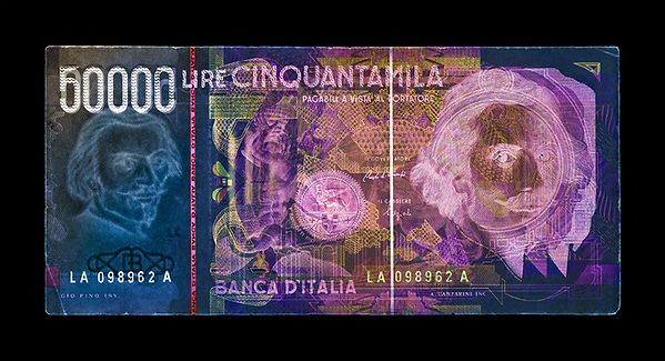 David LaChapelle, Negative Currency: 50000 Lira Used As Negative, 1990-2017