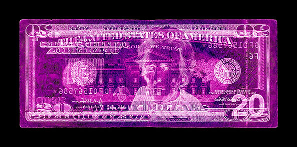David LaChapelle, Negative Currency: Twenty Dollar Bill Used As Negative, 1990-2017
