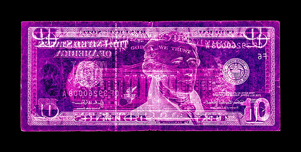 David LaChapelle, Negative Currency: Ten Dollar Bill Used As Negative, 1990-2017