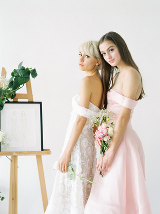 Capucine Dress (Ivory Lace + Blush Organza)