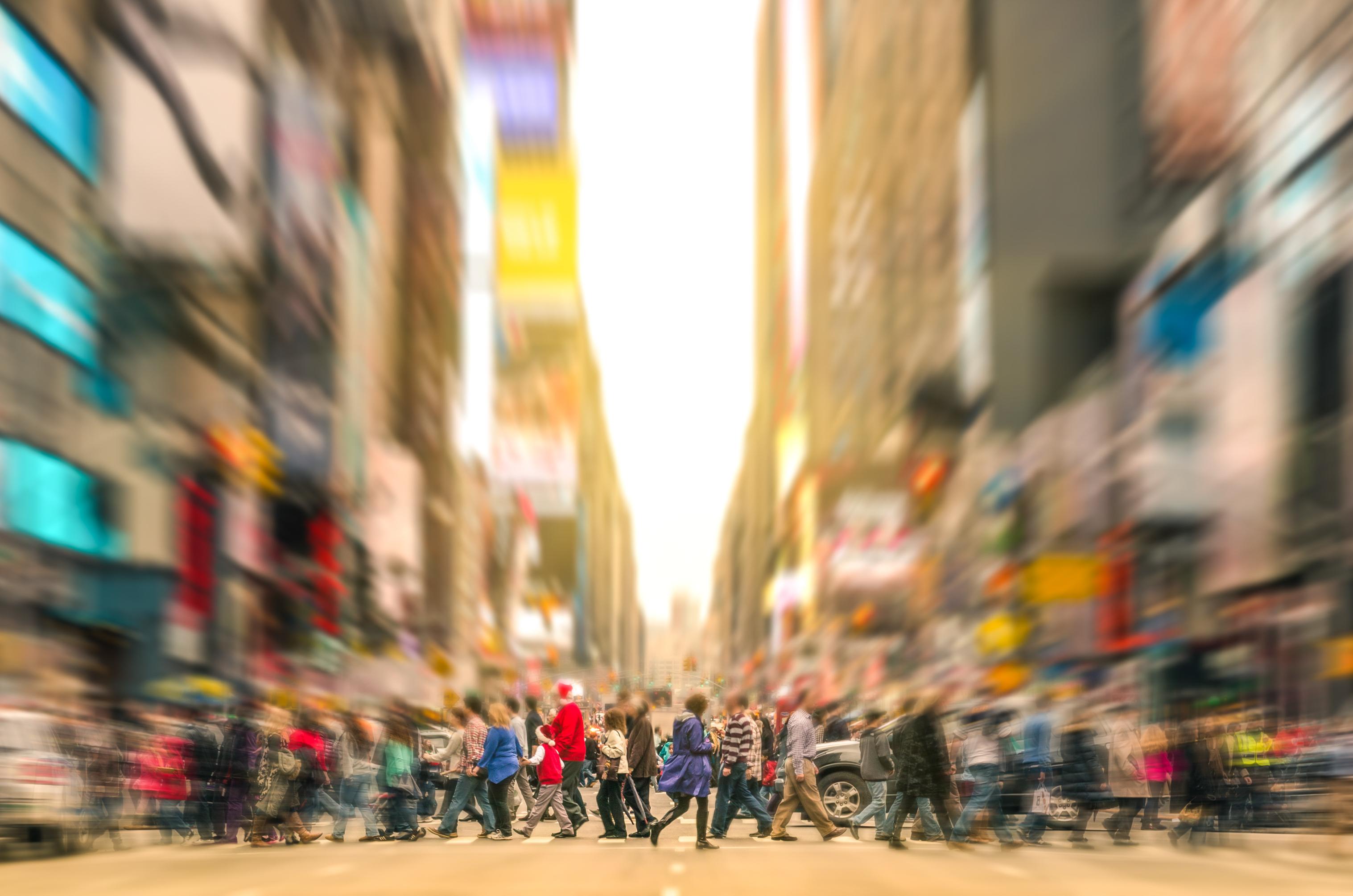 Melting Pot People Walking On Zebra Crossing And Traffic Jam In New York Manhattan At Sunset