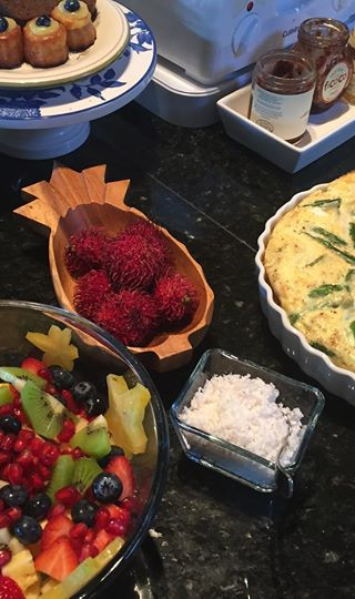 Brekky this morning ~ fresh scraped coconut, jarlesberg asparagus frittata and so much fre