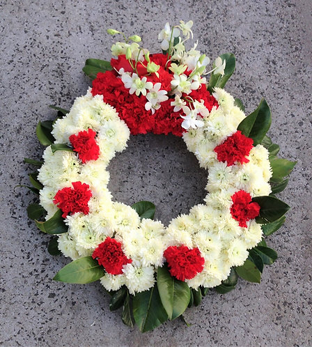 Carnation Wreath (red & white)