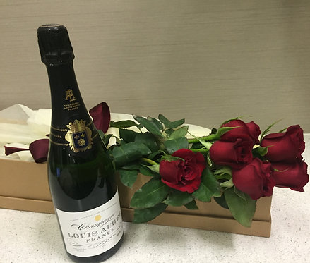 Valentine's Rose Box + French Champagne