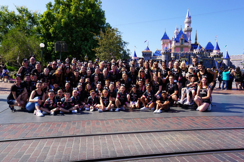 Our full 2019 Lightning Elite groupwith Sleeping Beauty's castle