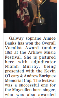 Galway soprano Aimee Banks has won the Overall Vocalist Award