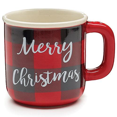 Red Plaid Merry Christmas Mug