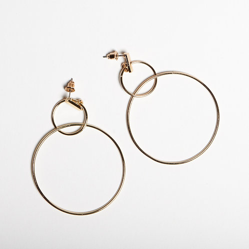 Gold Double Ring Earrings