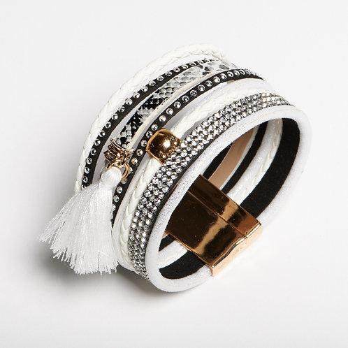White & Silver Layered Bracelet