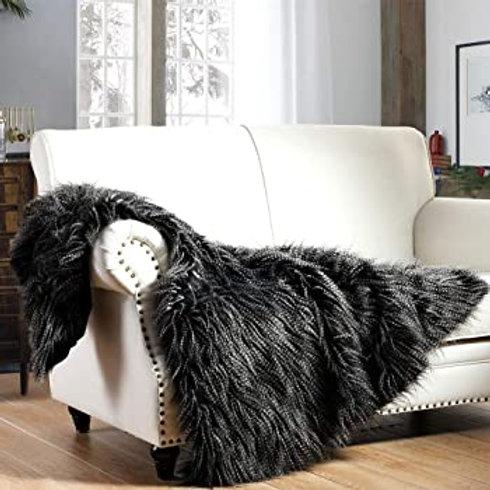 Black Peacock Feather Faux Fur Throw