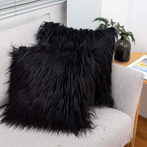 Black Faux Fur Pillow Covers