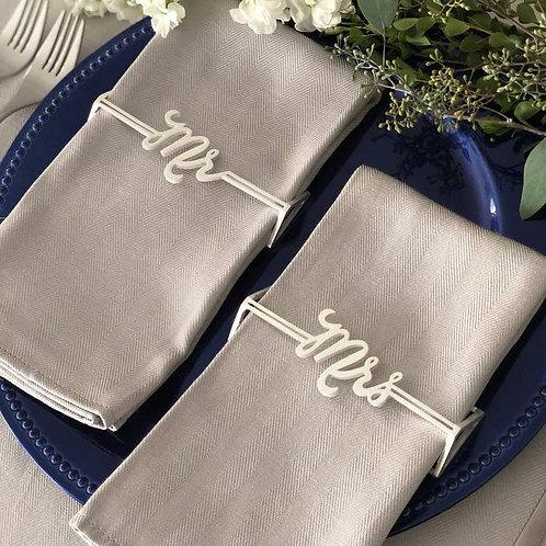 Mr. & Mrs. Napkin Wrap Matte Silver