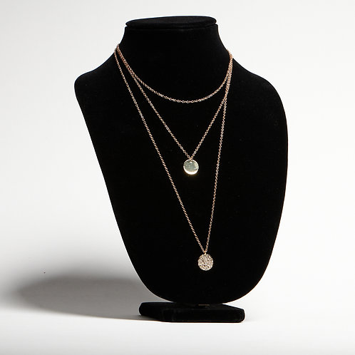 Gold Round Disc Necklace