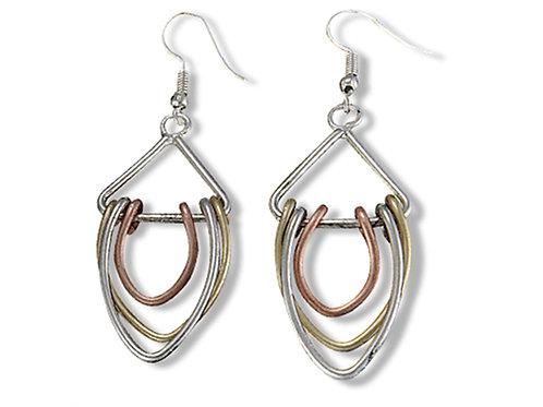 Tri-Metal Drop Earrings