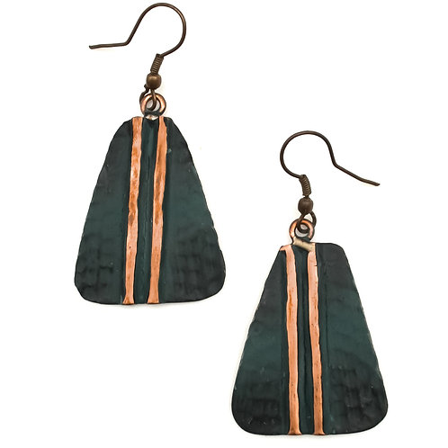 Teal Hammered Copper Pantina Earrings