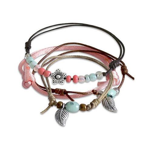 Girls Spring Flower Bracelet Set