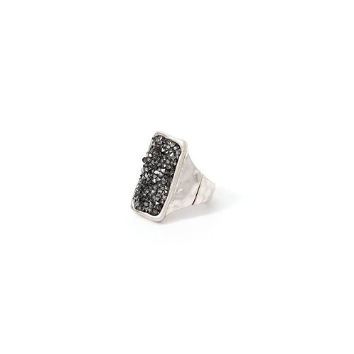 Black Druzy Adjustable Ring