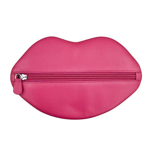 Leather Hot Lips Cosmetic Bag