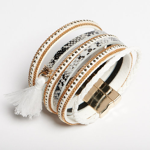 White and Gold Layered Bracelet