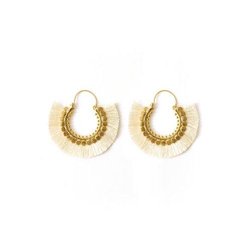 Ivory & Gold Fringe Earrings