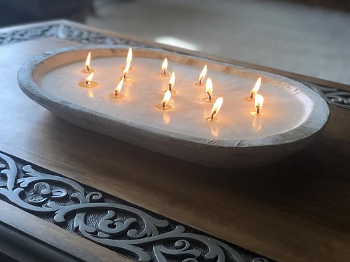 13 Wick Dough Bowl Candle - Distressed White