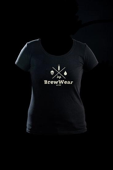 T-shirt women, round neck, Black