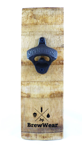 Wall mounted bottle opener French Oak