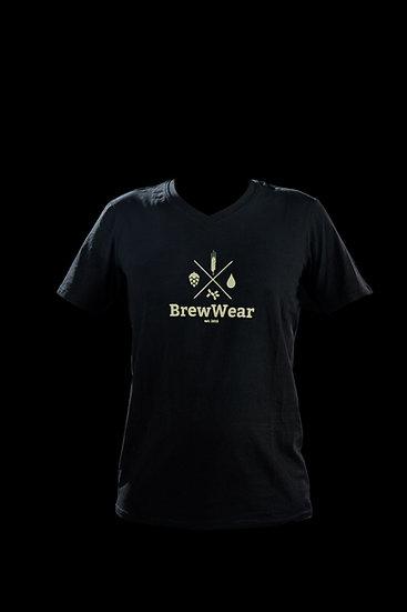 T-shirt men, V-neck, Charcoal Black