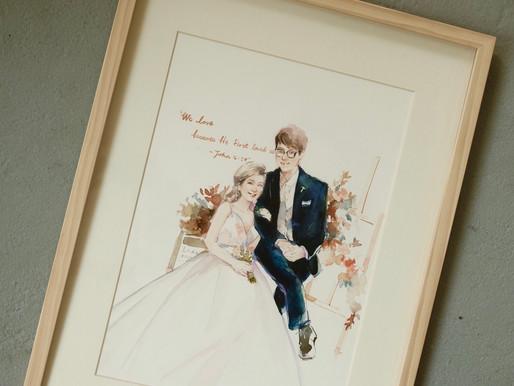 【訂製婚禮肖像畫】最美的回憶用畫筆記錄下來,除了照片另一種留念的方式!