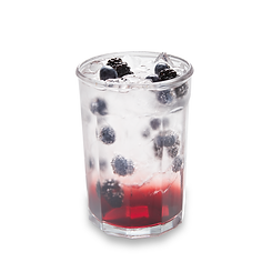 Berry sparkling layered beverage in a glass