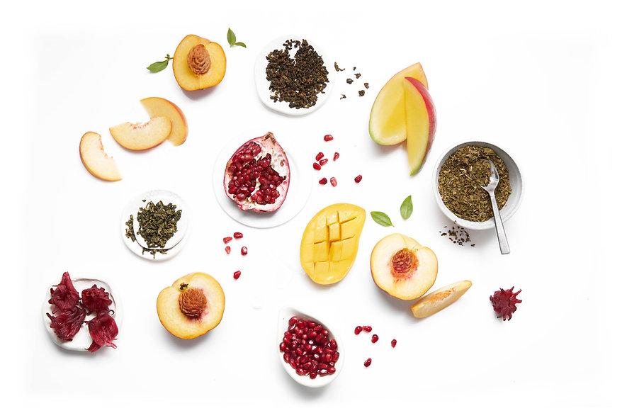 iced tea drink ingredient setting