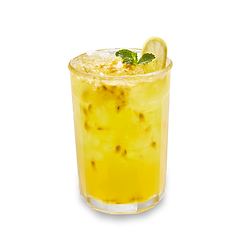 Passionfruit lemonade beverage in a glass