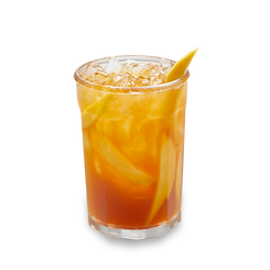 Mango iced tea beerage in a glass