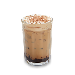 Chocolate iced coffee latte with powdered chocolate in a glass