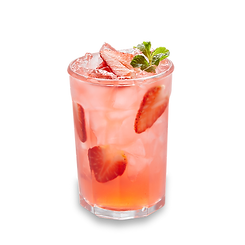 Strawberry Mint Lemonade beverage in a glass