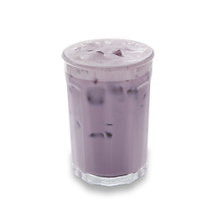 Ube milk tea in a glass