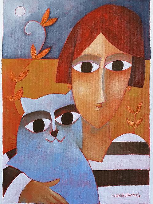 moça com gato 42x30