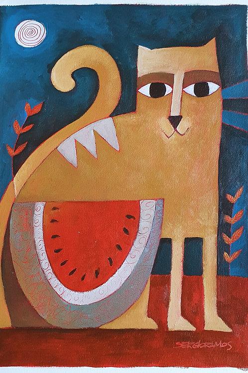gato com melancia 42x30