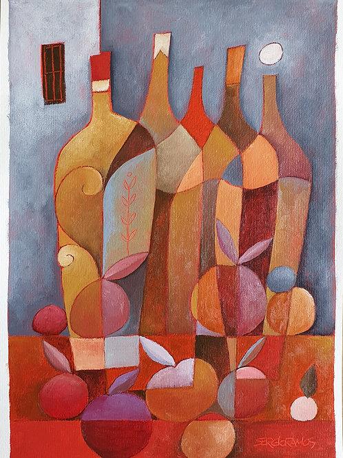 garrafas e maçãs 42x30