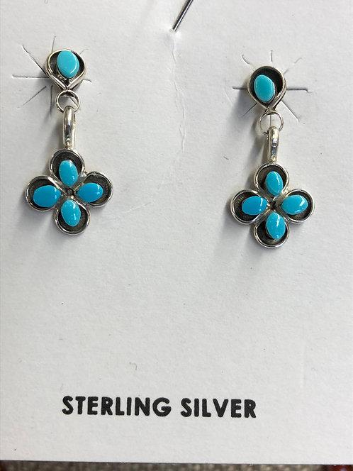 Flower Turqoise Dangle Earrings