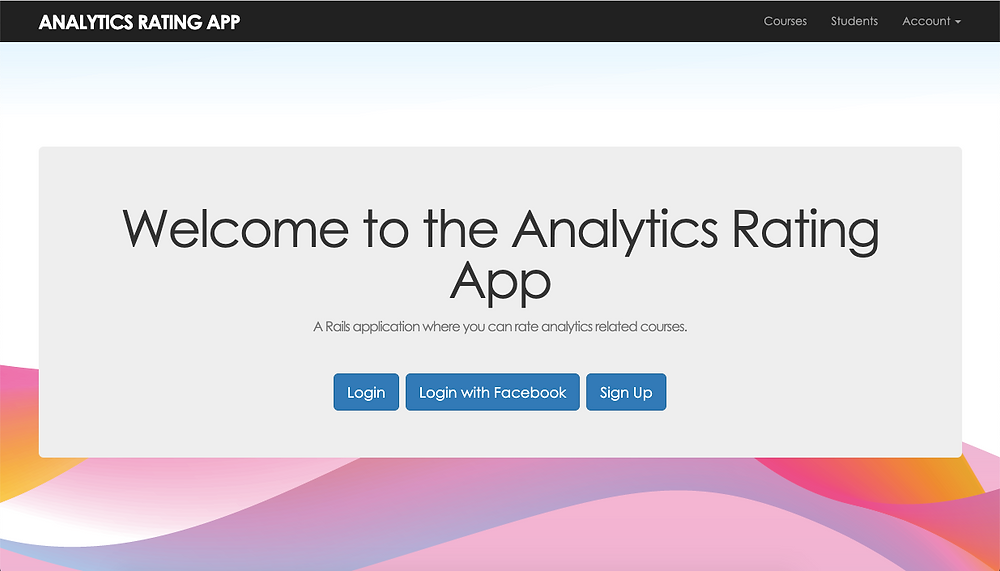 Homepage of the web application built with Rails.
