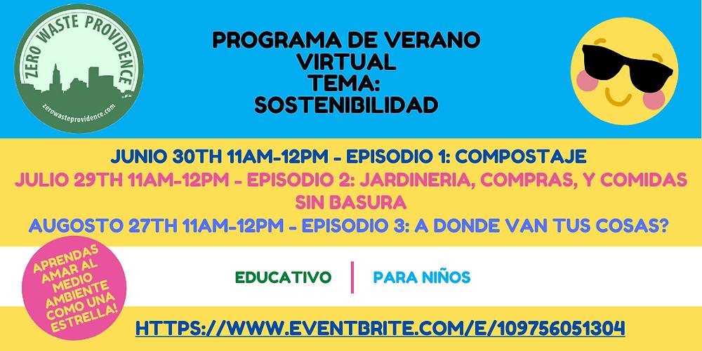Programa de verano virtual: tema sostenibilidad folleto