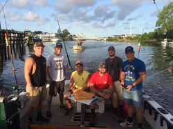 Fishing charter group on boat